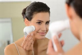 Organic skin care being applied